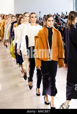 New York, USA. 14th Feb, 2018. Models walk runway for Leanne Marshall Fall/Winter 2018 runway show during New York - Stock Photo