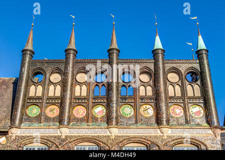 Town hall of the Hanseatic City of Lubeck - Stock Photo