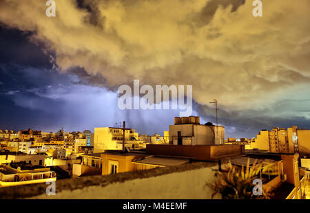 Lightning storm over city,Palma,Majorca,Balearic Islands,Spain - Stock Photo