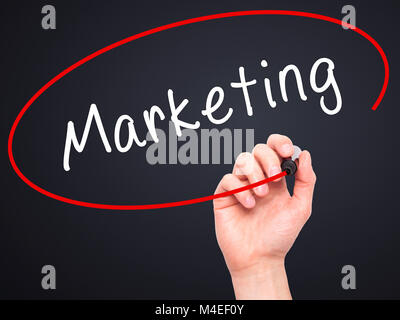 Man Hand writing Marketing with black marker on visual screen - Stock Photo