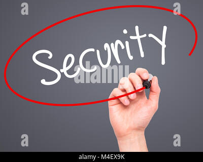 Man Hand writing Security with black marker on visual screen - Stock Photo