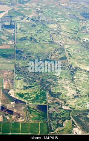 aerial view of farm land crop fields in usa - Stock Photo