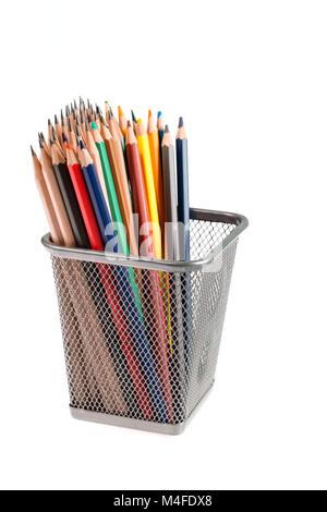 color pencils in metal pot - Stock Photo
