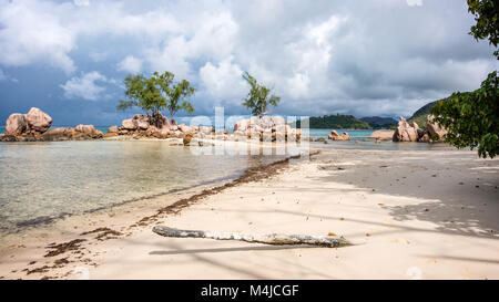 Beach and Rocks, Praslin, Seychelles - Stock Photo