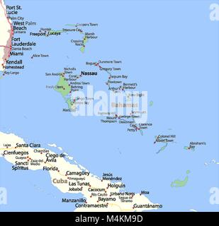 Map of Bahamas. Shows country borders, urban areas, place names and roads. Labels in English where possible. Projection: - Stock Photo