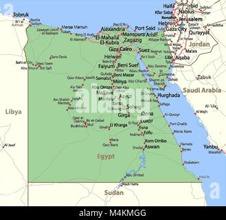 Map of Egypt. Shows country borders, urban areas, place names and roads. Labels in English where possible. Projection: - Stock Photo