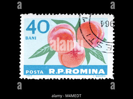 Cancelled postage stamp printed by Romania, that shows Peaches, circa 1963. - Stock Photo