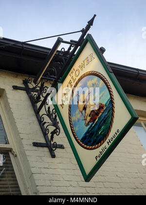 LEIGH-ON-SEA, ESSEX, UK:  Sign above The Mayflower Pub at Old Leigh - Stock Photo