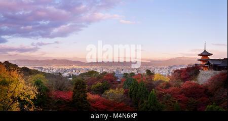 Sanjunoto, Sanju-no-to pagoda, Kiyomizu-dera in Kyoto, beautiful panoramic view in colorful autumn sunrise morning - Stock Photo