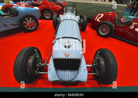 London, UK. 16th Feb, 2018. A 1933 MG K3 single seat racing car on display at the London Classic Car Show which - Stock Photo