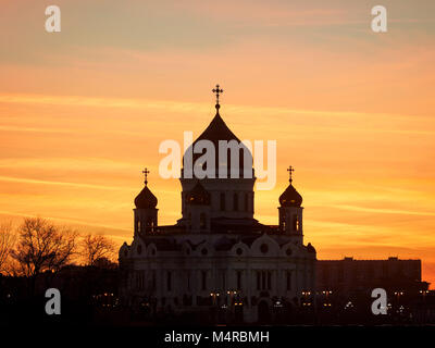 Silhouette of the Cathedral of Christ the Saviour upon sunset sky. Moscow, Russia. - Stock Photo