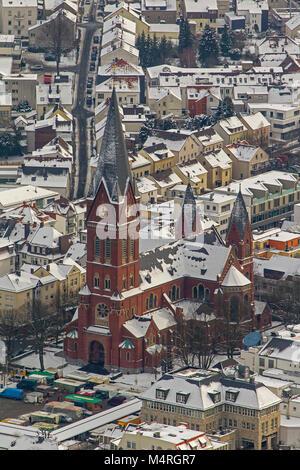 Aerial view, Parish Church of St. John Baptist Sauerländer Dom, Neheim, Arnsberg, Sauerland, North Rhine-Westphalia, - Stock Photo