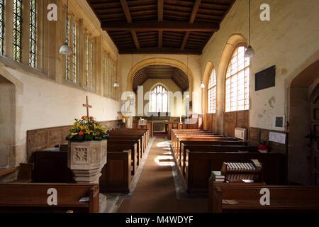 Interior of All Saints Church, Weston on Avon, a mainly 15th century grade 1 listed C of E church near Stratford - Stock Photo