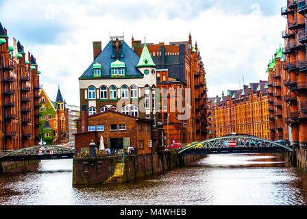Water castle building in hamburg hafen city germany - Stock Photo