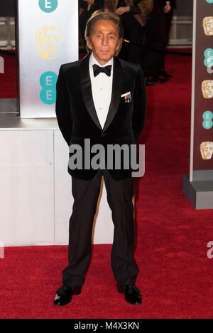 London, UK. 18th Feb, 2018. Valentino 'attends EE British Academy Film Awards 2018 at the Royal Albert Hall - BAFTA - Stock Photo
