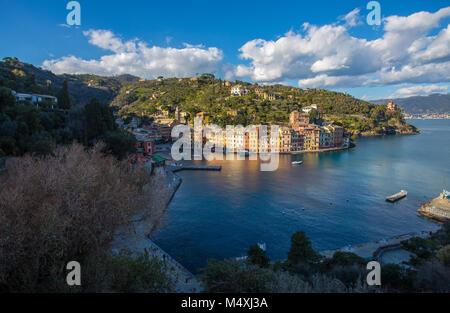 PORTOFINO, ITALY, FEBRUARY 13, 2018 - Aerial view of the city of of Portofino , Genoa (Genova) Province, Liguria, - Stock Photo