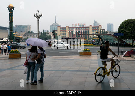 Urban view of Tianfu square in Chengdu, Sichuan. The largest square in southwest China, Asia. Landscape in Chinese - Stock Photo