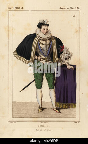 King Henri III of France. Illustration by Dunand, lithograph by Breton after a portrait in Roger de Gaignieres' - Stock Photo