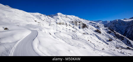 Panoramic view of the slopes of Orcieres-Merlette ski resort in Winter. Hautes-Alpes, Ecrins National Park, Champsaur, - Stock Photo
