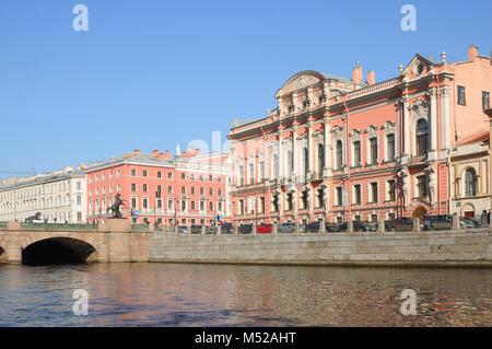 SAINT PETERSBURG, RUSSIA - APRIL 7, 2014: View from the Fontanka River at Beloselsky-Belozersky (Sergievskiy Palace) - Stock Photo