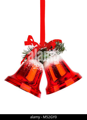 Christmas bells with a red bow - Stock Photo