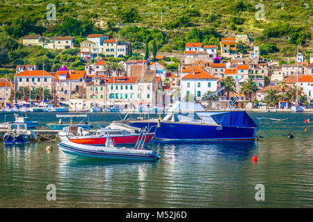 Seafront view at marble Vis island scenery in Croatia, Mediterranean. - Stock Photo