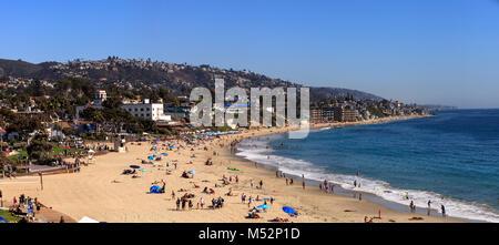 Main Beach and the ocean in Laguna Beach - Stock Photo