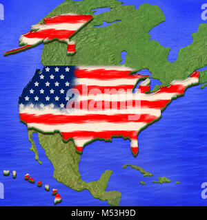 3D map of USA painted in the colors of USA flag, surrounded by land and sea background. Illustration of stylized - Stock Photo
