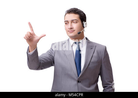 Call center employee isolated on white background - Stock Photo