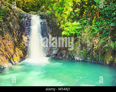 Beautiful Kaeng Nyui Waterfalls. Vang Vieng. Laos landscape. - Stock Photo