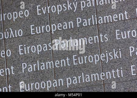 Inscription on European Parliament building - Brussels Belgium - Stock Photo