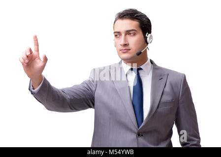 The call center employee isolated on white background - Stock Photo