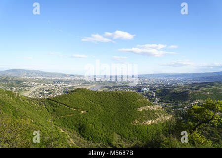 View from the hill to Tbilisi City - Stock Photo