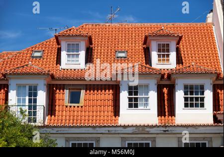 Mansard roof in Lisbon. Portugal. - Stock Photo