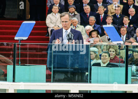 United States President George H.W. Bush delivers his Inaugural Address after being sworn-in as 41st President of - Stock Photo