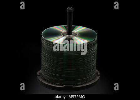 Blank DVD, CD Discs isolated on black - Stock Photo