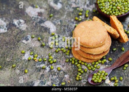 Mung bean cookies, healthy vegan dessert. Grey background. Top view. Copy space - Stock Photo