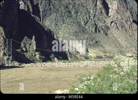 Trans canyon Pipeline (Historic)  Silver Bridge Construction. Trans-canyon pipeline (historic) First suspension - Stock Photo