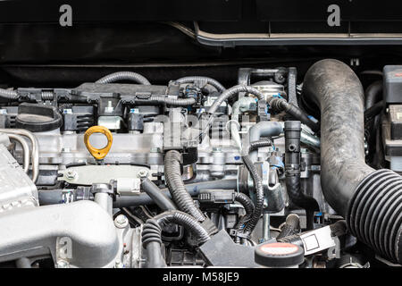 View on engine block of a modern car - Stock Photo