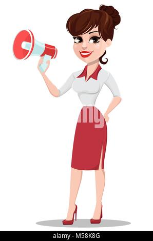 Young cartoon businesswoman in red and white clothes. Beautiful lady holding megaphone. Fashionable modern business - Stock Photo