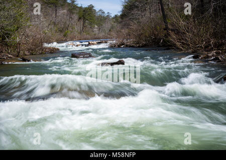 Rapids on Little River in Little River Canyon National Preserve, Alabama - Stock Photo