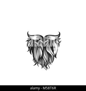 Black curly beard with mustache vector illustration. - Stock Photo