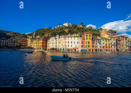 PORTOFINO, ITALY, FEBRUARY 13, 2018 - View of the city of of Portofino from the pier , Genoa (Genova) Province, - Stock Photo