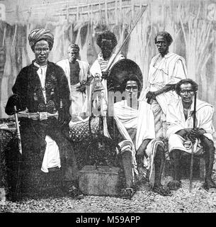 Sultan of Tadjoura, Mohammed Loitah, of French Somaliland or Djibouti, and Elders of the Afar Tribe. The Sultan - Stock Photo