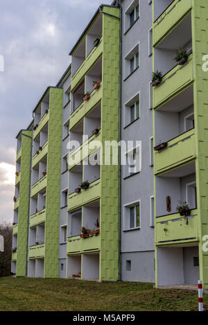 50s multi-family house in Jena Thuringia from the back with balcony - Stock Photo