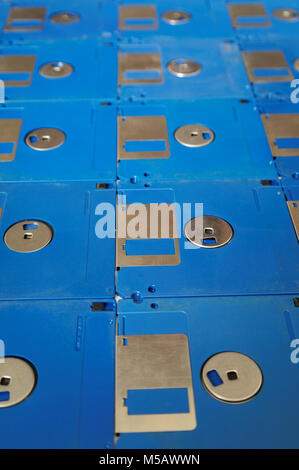 blue computer diskettes in the perspective view - Stock Photo