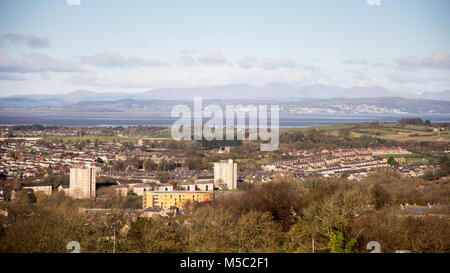 Lancaster, England, UK - November 12, 2017: The cityscape of Lancaster, with Morecambe Bay and the mountains of - Stock Photo