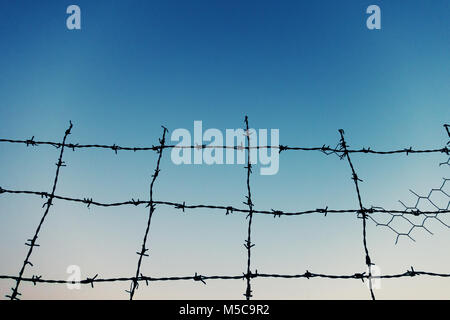 Close-up view of barbed wire against sky - Stock Photo