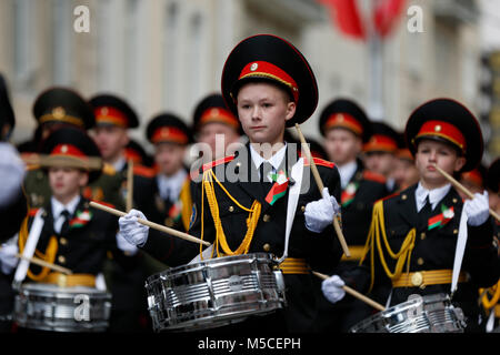 Belarus, Gomel, May 9, 2017, the Victory Day celebration.Boys cadets with drums.Boys are soldiers. Russian teenagers. - Stock Photo