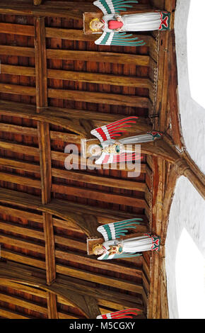 Nave roof detail in the parish Church of Our Lady St Mary at South Creake, Norfolk, England, United Kingdom, Europe. - Stock Photo